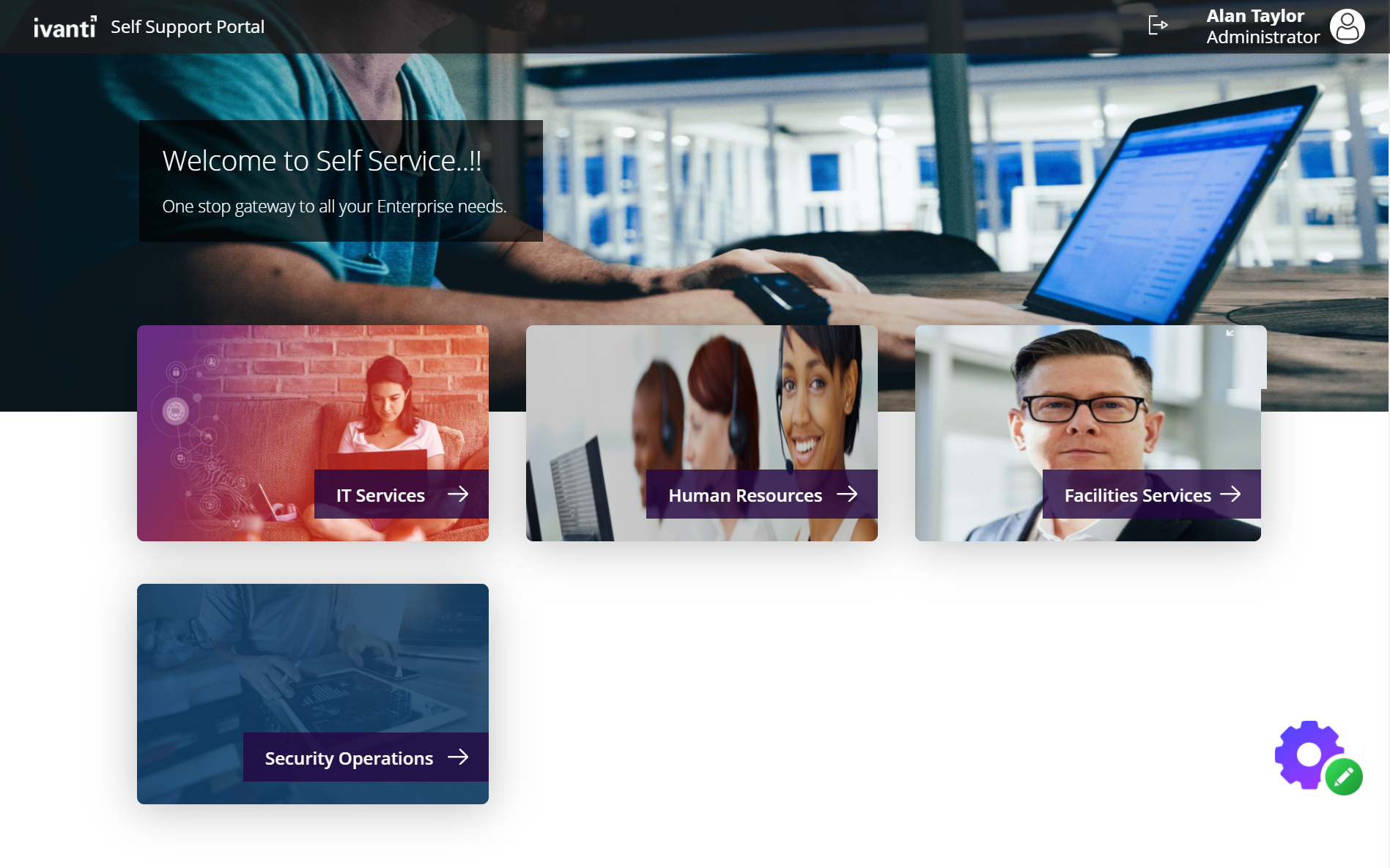 Enterprise Self Service Welcome Page for ISM